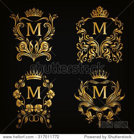 的金色字母組合圖形設計在黑色背景.