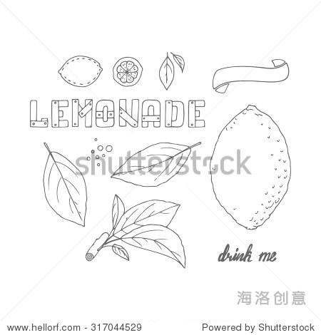 的手绘元素集柠檬水或饮料包装设计.