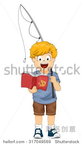 的一个小男孩拿着鱼竿看书