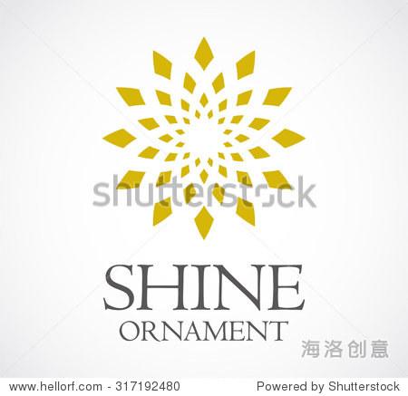 发光装饰圆花文摘矢量标志设计模板装修公司业务图标艺术符号的概念