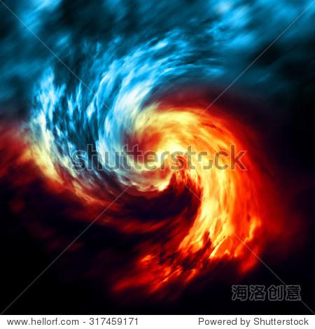 火与冰的抽象背景 红色和蓝色烟雾漩涡在黑暗的背景 背景 素材,抽象