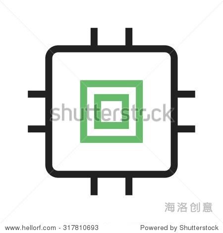 芯片,电路图标矢量图.还可以用于计算机硬件,计算机网络和连接.
