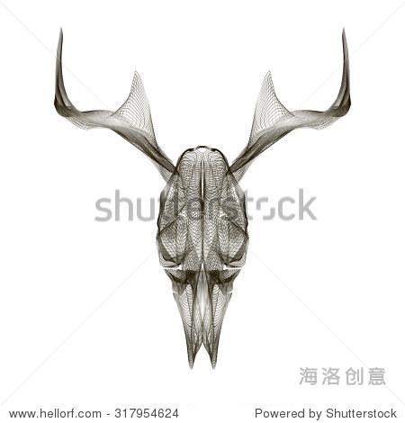 鹿头骨.3 d风格为版画插图,袋,纹身或t恤. - 动物