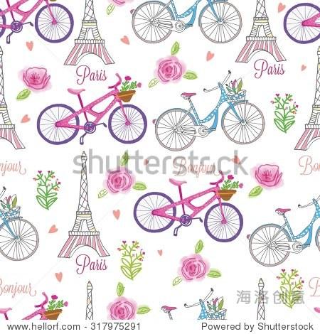 法国巴黎骑自行车,路灯从埃菲尔铁塔,无缝的向量,模式