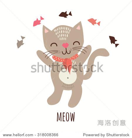 可爱的猫和鱼.矢量图