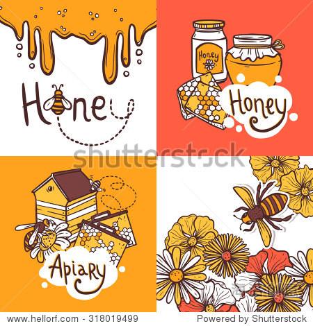 蜂蜜设计理念集养蜂人养蜂场草图图标孤立的插图