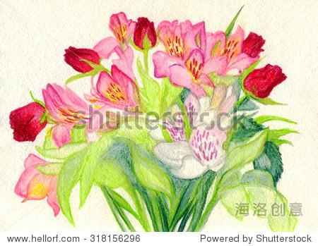 画一束鲜花步骤