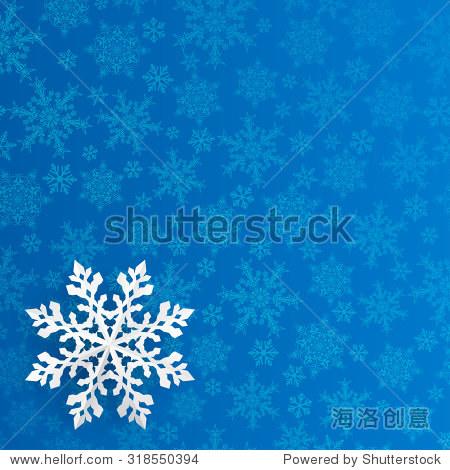 圣诞小雪花简笔画-Christmas background with snowflake cut out of paper on blue bac