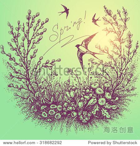 手绘花卉帧春天的植物.素描的花,树枝柳树开花和飞翔.
