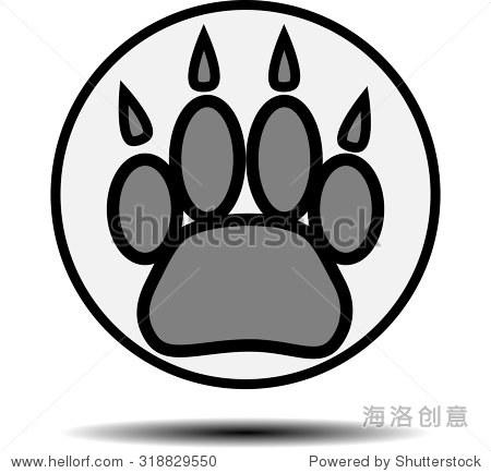 脚印的动物.跟踪爪子,打印猫狗或虎,矢量图解说明