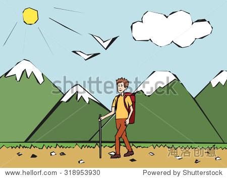 晚上游客走在山上.登山者.人旅行背包徒步