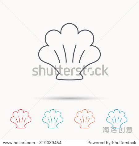 海贝壳图标.海贝的迹象.软体动物壳的象征.线性图标白色背景.向量