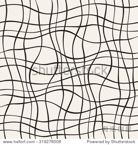 抽象无缝模式与波浪线.手绘图形.覆盖的简单程式化的纹理.矢量插图.
