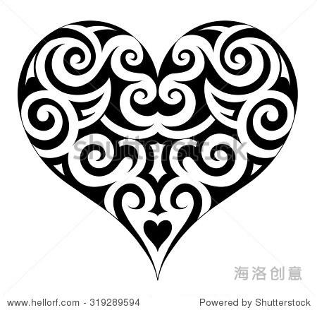 心形状的纹身.墨西哥民族图案