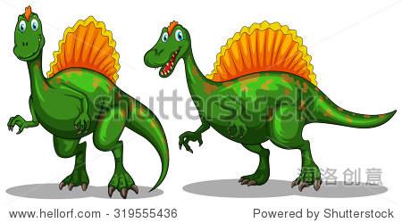 绿色的恐龙和锋利的爪子插图