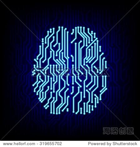 人工智能的概念.电路板大脑数码高科技风格上的标志图标矢量背景.