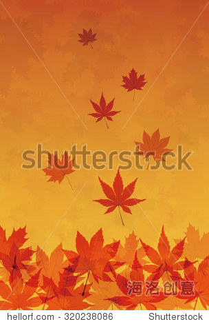 japanese style autumn maple leaves in orange gradient background