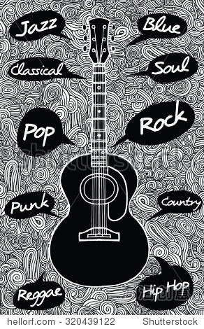 手绘涂鸦原声吉他,爱音乐,平面设计.矢量图-背景/素材