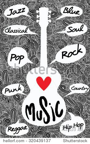 手绘涂鸦原声吉他,爱音乐,平面设计.矢量图