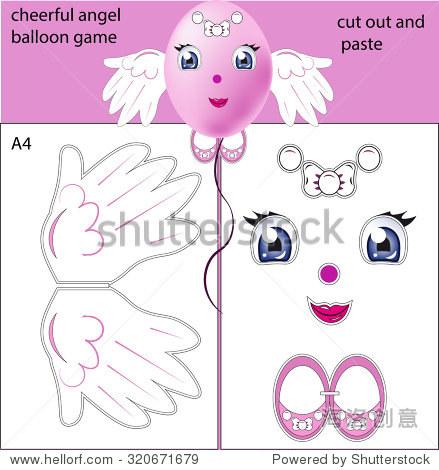 可爱的天使,一个气球,粘贴的细节