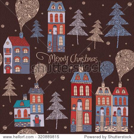 圣诞贺卡和房子.假期矢量插图.