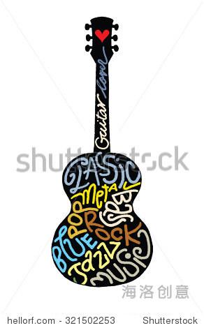 注意表手绘涂鸦原声吉他,喜欢音乐,平面设计.矢量图