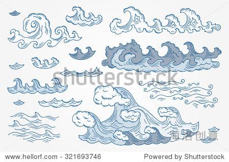 向量的海浪,手绘涂鸦插图