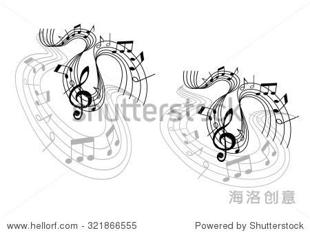 波成分与旋律的高音谱号,音符和波线孤立在白色背景 可以使用
