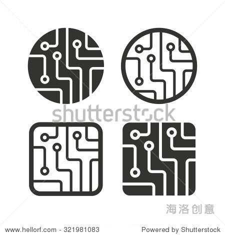 电路板图标.技术方案圆形和方形符号标志.平图标白色.