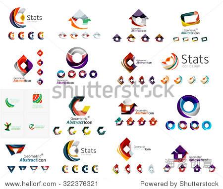 通用图标设置任何想法概念几何形状循环,圆形,三角形和信件