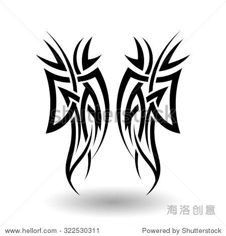 手绘部落纹身翅膀形状