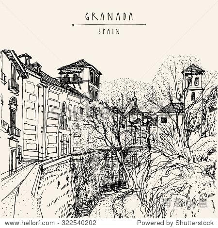 西班牙格拉纳达手绘老式黑白明信片模板.向量