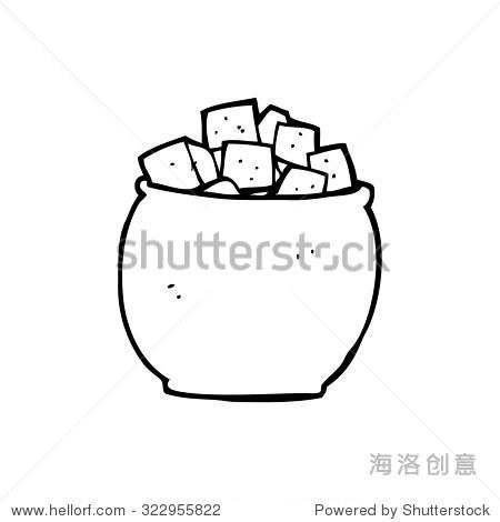 simple black and white line drawing cartoon sugar
