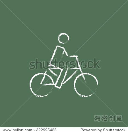 自行车和自行车手绘在白色粉笔在黑板上矢量图标孤立的绿色背景.