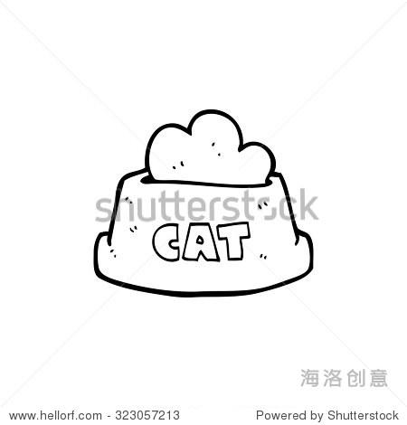 简单的黑白线条画卡通猫粮
