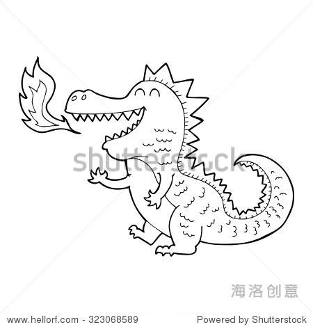 简单的黑白线条画卡通喷火的龙 - 动物/野生生物