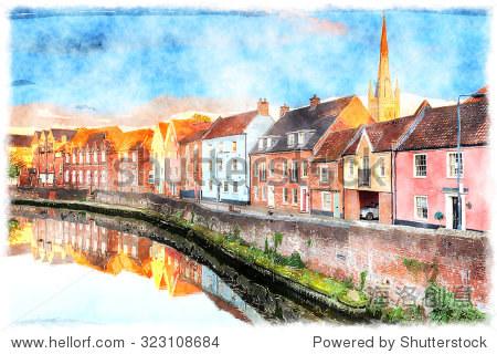 水彩畫的漂亮小鎮房子俯瞰河輕快的在諾福克norwhich