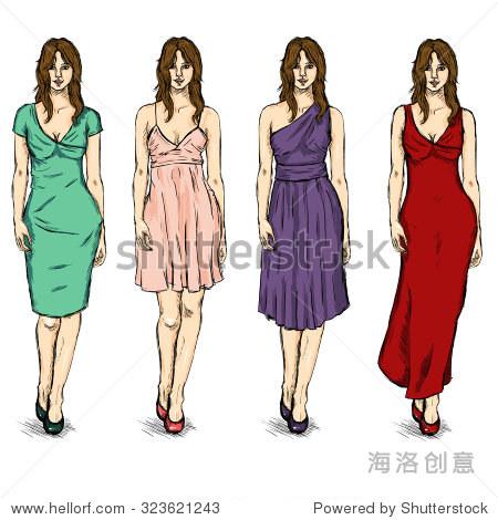 向量组素描女时装模特