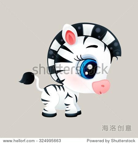 矢量图的卡通可爱的斑马 - 动物/野生生物,插图/剪贴