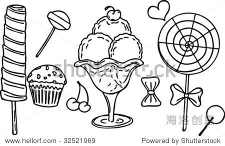 简笔画冰淇淋-icecream sweets and candy s