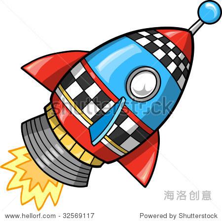 可爱的超级火箭矢量插图