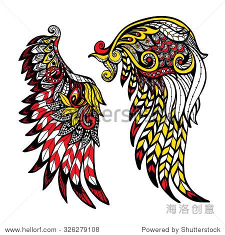 手绘彩色翅膀镶嵌装饰羽毛孤立的矢量图