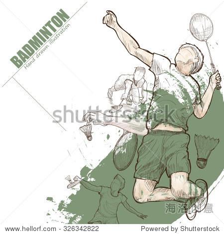 手绘.羽毛球的海报.运动背景.