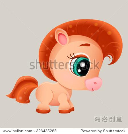 矢量插图的卡通可爱的马