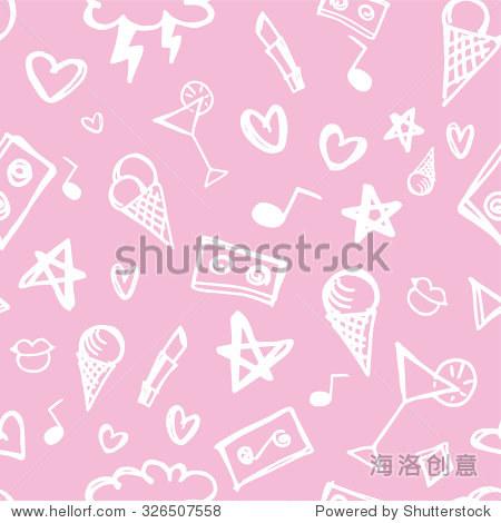 可爱的粉红色的涂鸦-背景/素材-海洛创意正版图片,,-.