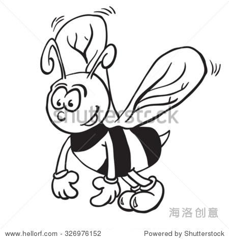 简单的黑白蜜蜂卡通插图-动物/野生生物,抽象-海洛,,.