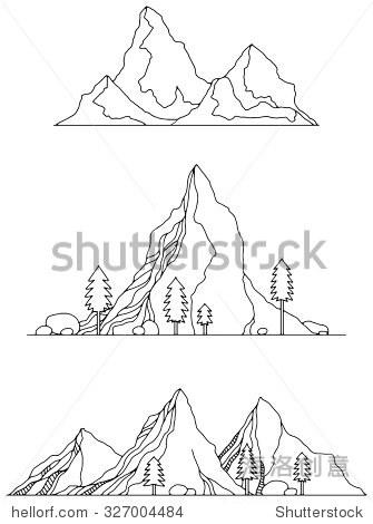黑白手绘各种山,矢量插图孤立在白色的