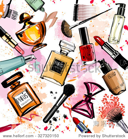 Watercolor cosmetics and perfumes collection - Vector illustration
