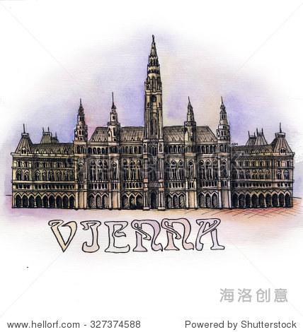 维也纳水彩手绘,著名建筑buillding孤立在白色背景上.