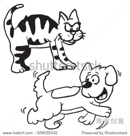 简单的黑白猫狗卡通